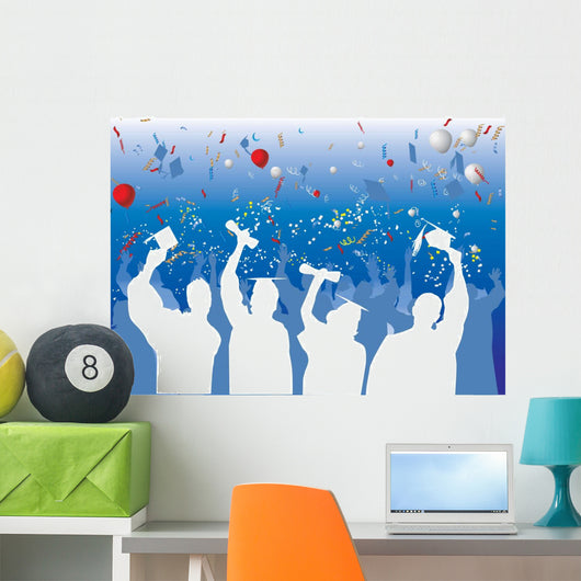 Graduation Celebration Silhouette Wall Mural