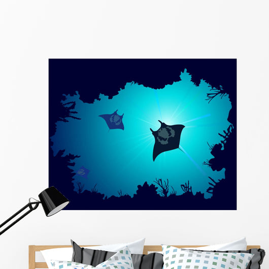 Underwater Murals - Background of a coral reef with manta ray Wall Mural