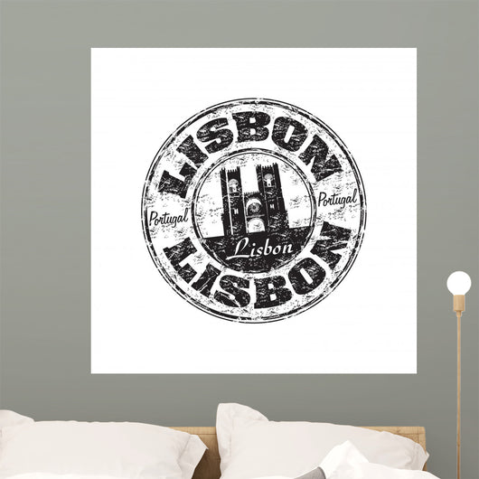 Lisbon Black Grunge Rubber Stamp Wall Decal