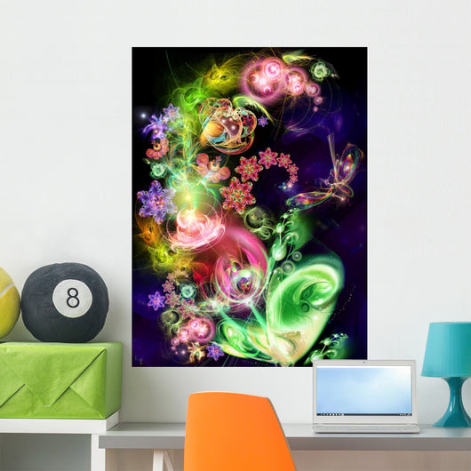Fairy-Tale Luminous Flower Wall Mural