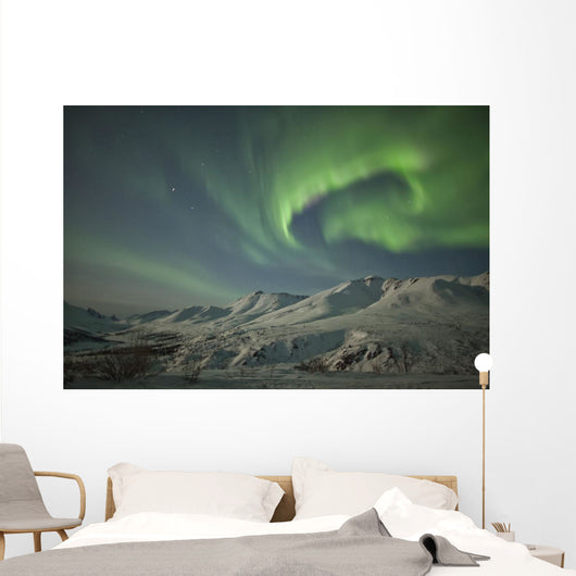Aurora borealis dances over the klondike valley Wall Mural