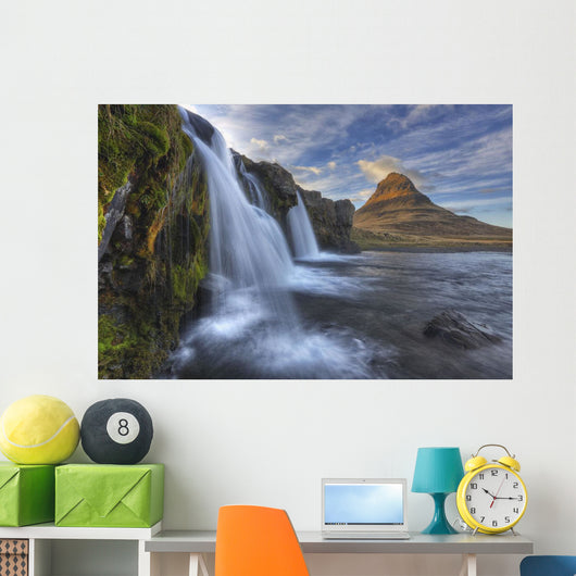 The mountain kirkjufell and waterfall kirkjufellsfoss Wall Mural