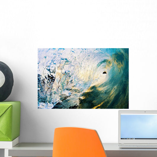 Hawaii, Maui, Makena, Beautiful Blue Wave Breaking At The Beach Wall Mural