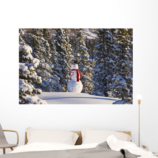 Snowman Wearing A Red Scarf And Black Top Hat Standing Wall Mural