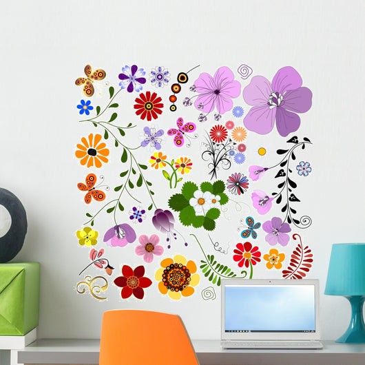 Big collection flowers and  butterflies Wall Mural