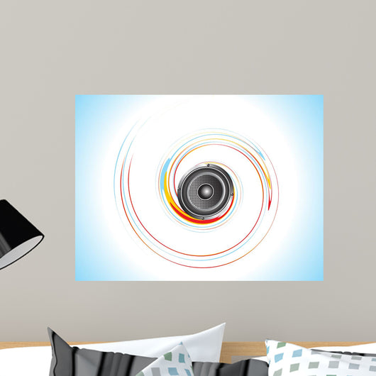 abstract sound with colorful wave illustration Wall Mural