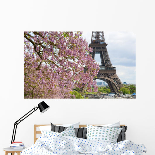 Spring in Paris. Blossoming jacarandas and the Eiffel Tower Wall Mural