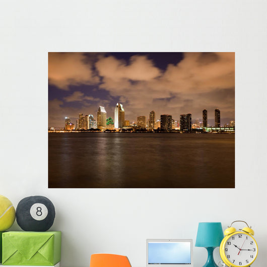 Orange clouds reflect light from San Diego Skyline Wall Mural