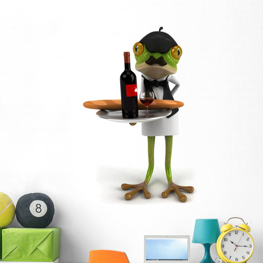 French Frog Waiter Wall Decal