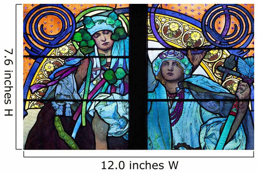Stained galss window in St Vitus Cathedral designed by Alfons Mucha Wall Mural
