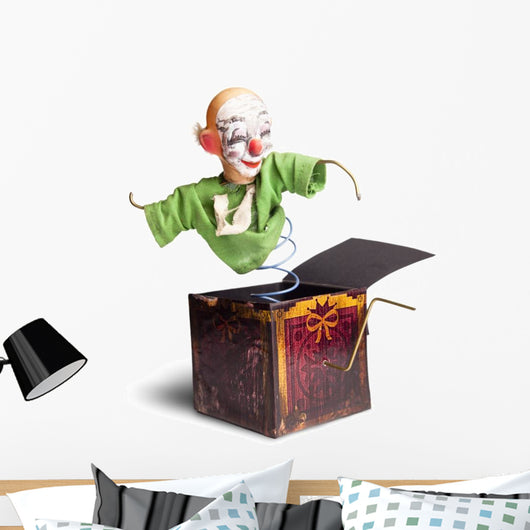 photo of a vintage Jack-in-the-box toy isolated Wall Decal