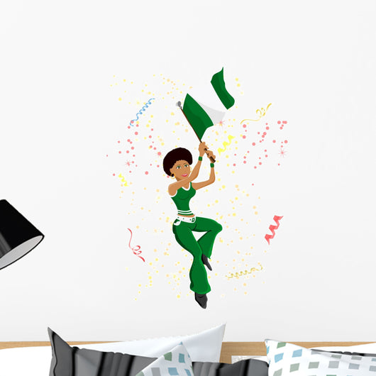 Black Girl Nigeria Soccer Fan with flag. Wall Mural