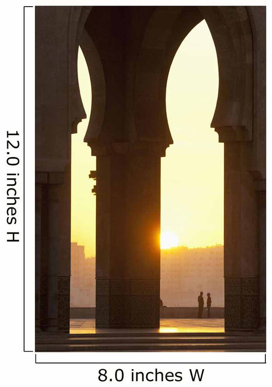 Morocco, Looking through arches of Hassan II mosque to couple chatting Wall Mural