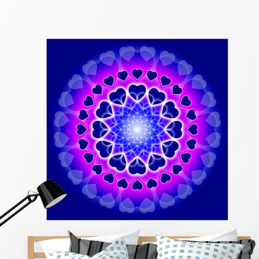 Blue Love Mandala - Circle of hearts Wall Mural