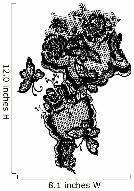 butterfly and rose lace design Wall Decal