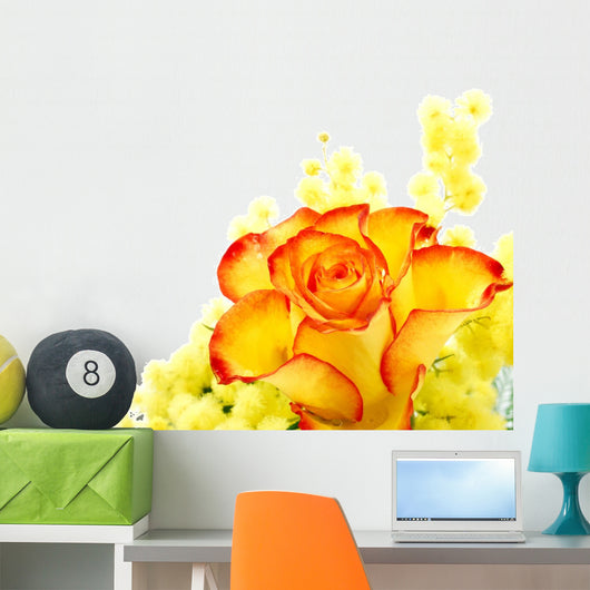 Red and yellow rose arrangement Wall Decal