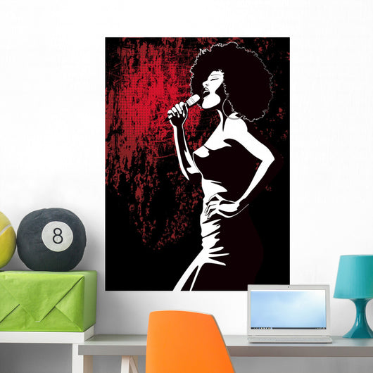 jazz singer on grunge background Wall Mural