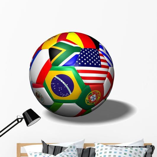 Soccer Ball Flags Wall Decal