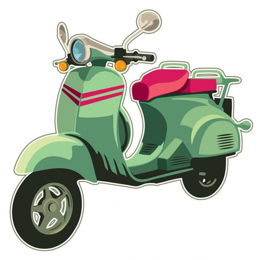 Retro scooter isolated on white. Wall Decal