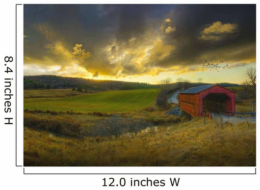Autumn Sunset Over Meech Creek And Covered Bridge Wall Mural