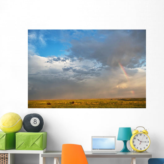 Bison Under A Passing Storm Over The Prairies Wall Mural