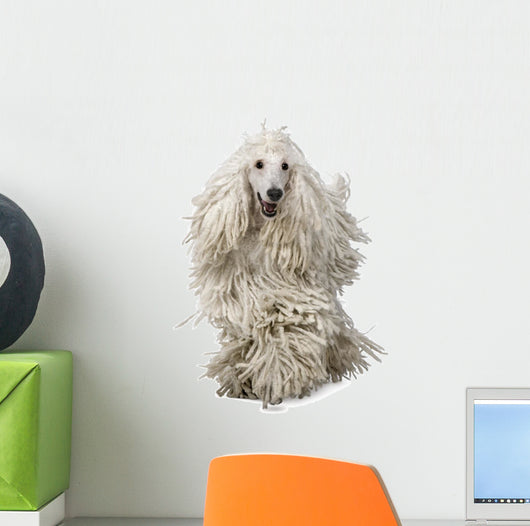 White Corded Poodle Wall Decal