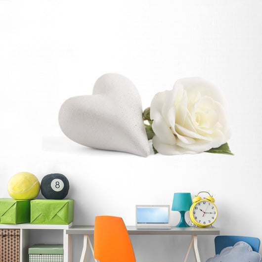 White Rose With Heart Wall Decal