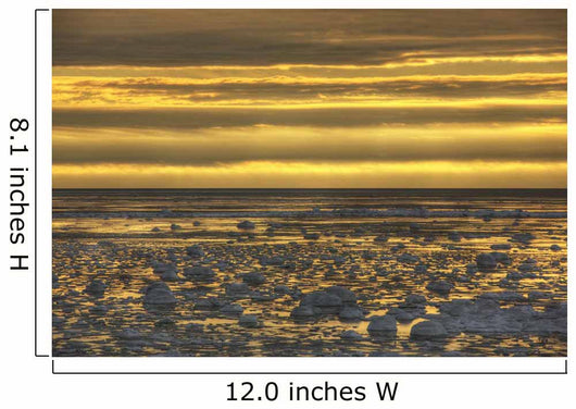 Sunrise over an ice filled bay of hudson's bay;Manitoba canada Wall Mural