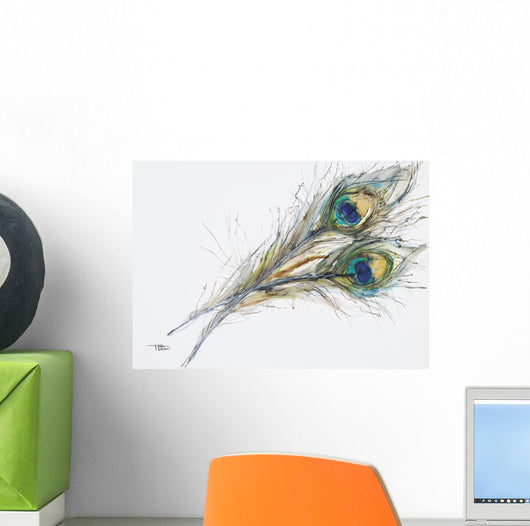 Watercolor Painting Of Two Peacock Feathers Wall Decal