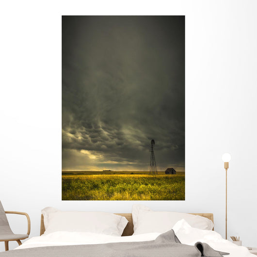 Mammatus storm clouds above a windmill Wall Mural