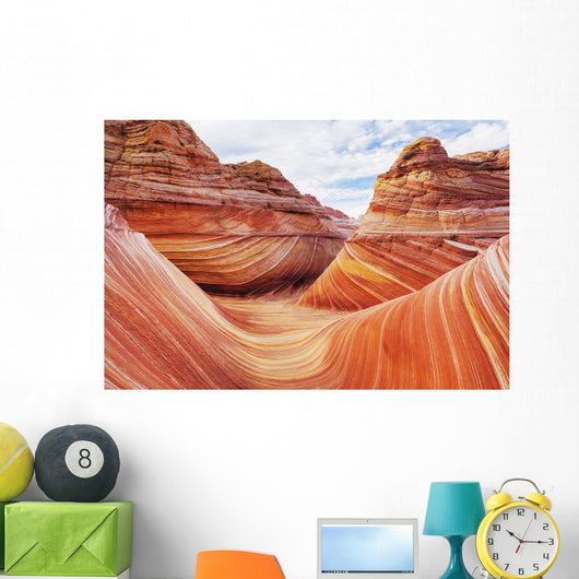 Arizona, Page, North Coyote Buttes, A Rock Formation Called The Wave Wall Mural