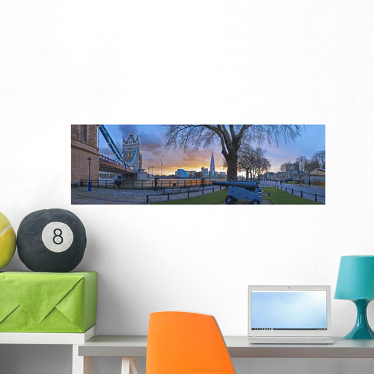 UK, Panoramic view of cityscape at dusk Wall Mural