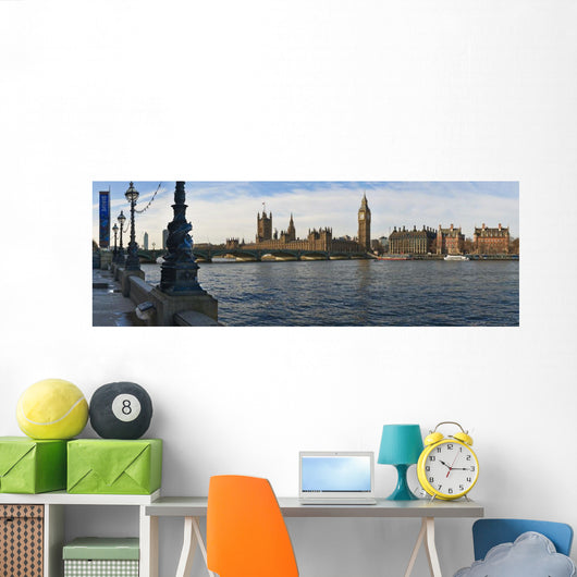 UK, Panoramic view of Houses of Parliament from bank of River Thames Wall Mural