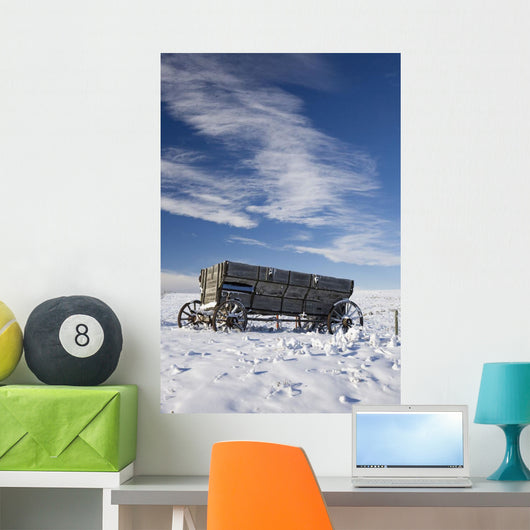 An old wooden wagon Wall Mural