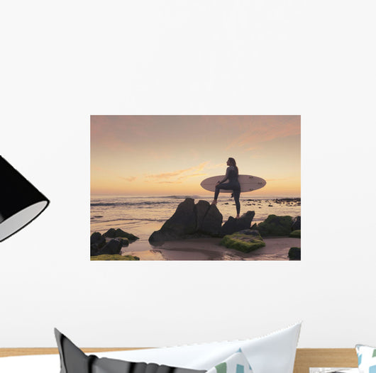 Spain, Andalusia, Cadiz, Costa de la Luz, Surfer on beach Wall Mural