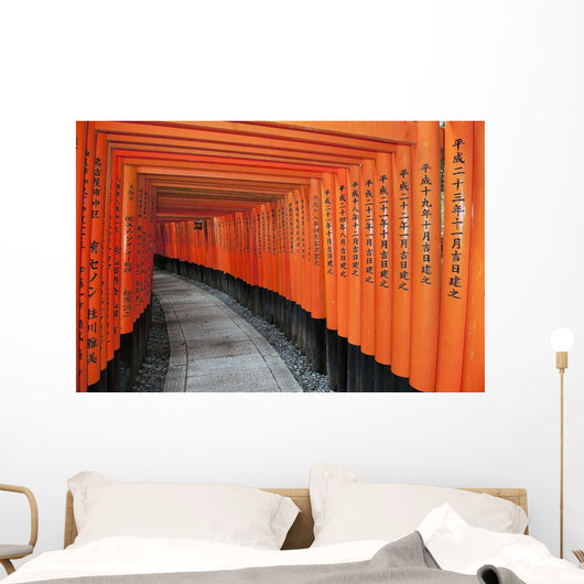 Japan, Red Columns Along Pathway Wall Mural