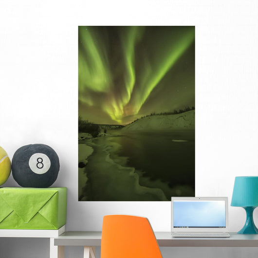 Aurora Borealis Over The Yukon River;Yukon Canada Wall Mural