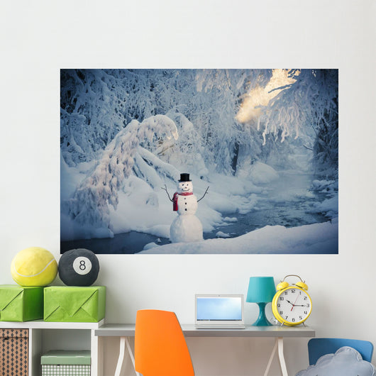 Snowman Standing Next To A Stream With Fog And Hoar Frosted Trees Wall Mural