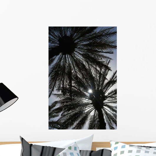 Silhouette Of Date Palm Trees In Oasis Wall Mural