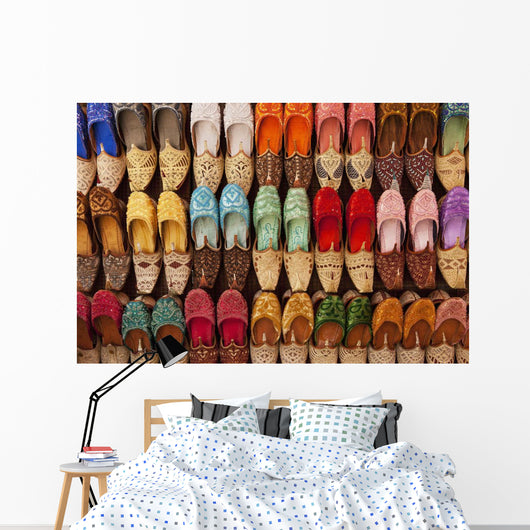 Traditional Shoes For Sale In Market Wall Mural