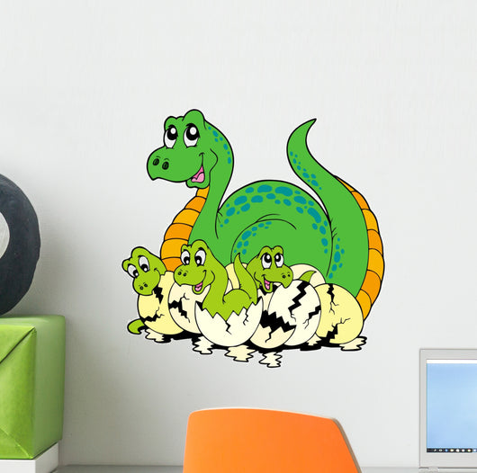 Dinosaur Mom With Cute Babies Wall Decal