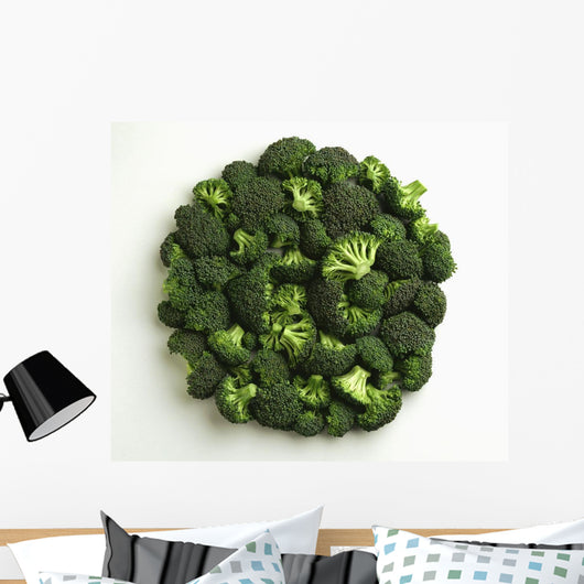 Agriculture - Broccoli florets, large, on white Wall Mural