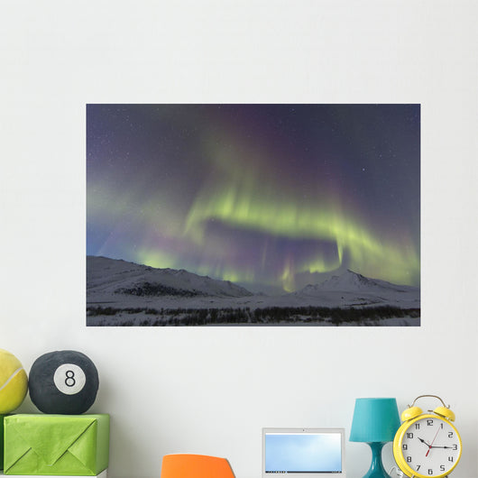Aurora Borealis At Twilight Above Angelcomb Mountain Wall Mural