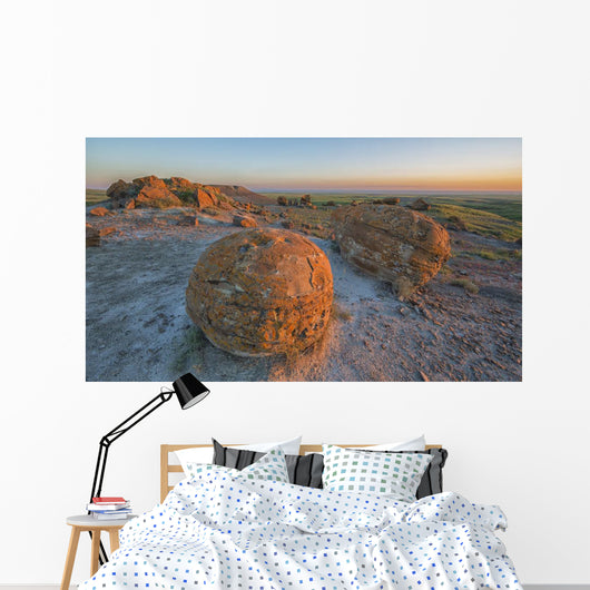 Sunset Over The Rocks At Red Rock Coulee Wall Mural
