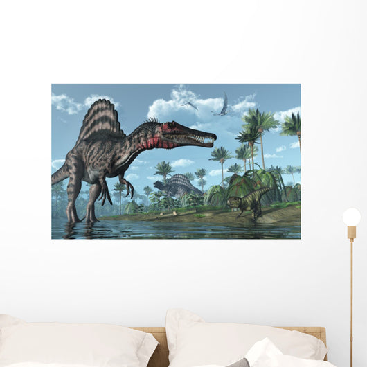 Prehistoric Scene With Spinosaurus and Psittacosaurus Dinosaurs Wall Mural