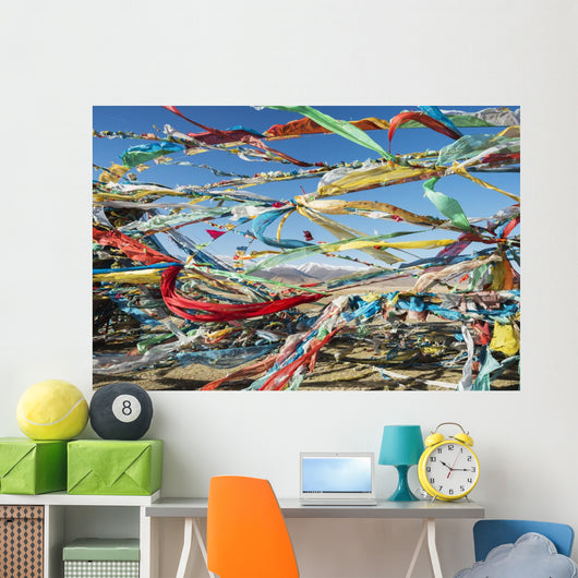 Colourful Tibetan Prayer Flags Wall Mural