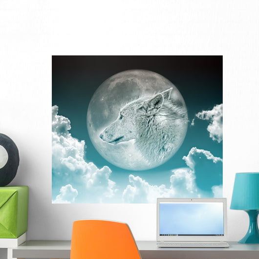 Wolf in the Moon Wall Mural