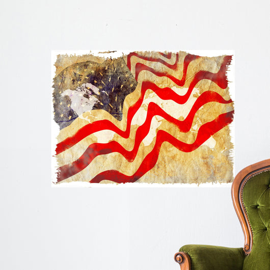 Abstrat grunge background of USA flag Wall Decal