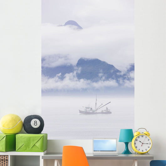 Commercial Fishing Boat Silver Wall Mural