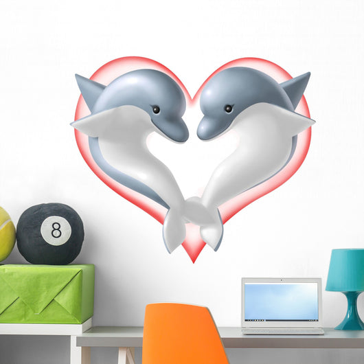 Dolphin in Love Wall Decal